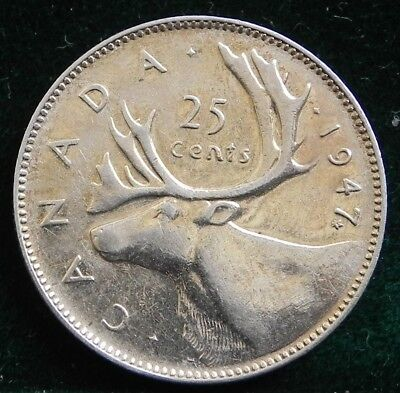 1947 ML Canadian Silver 25 cent Quarter AU