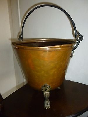 Antique French Copper Planter with Wrought Iron Handle & Brass Lion Legs
