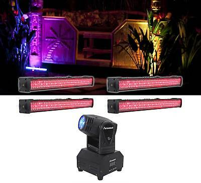 (4) American DJ MEGA GO BAR 50 RGBA Battery Powered DMX Wash Lights+Moving Head