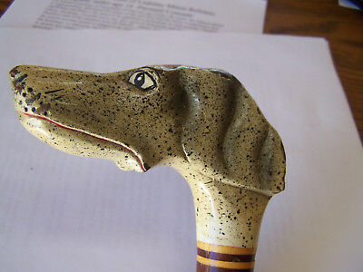"Old Antique Vintage Walking Cane Solid Oak Dog Head Grip 36"" Inlaid Rare 1 Here"