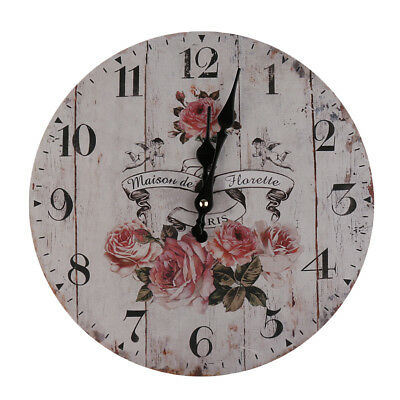 Wall Clock Wooden Rustic Retro Shabby Chic Home Kitchen Decor Art Gifts #5