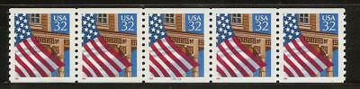 2913 - 32c Flag over Porch - PNC - Plate Number Strip of 5 - MNH - 33333