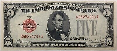 1928-E Five $5 Dollar Red Seal Bill Note Currency