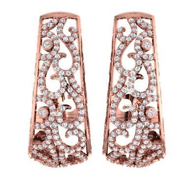 Designer Hoop Huggie Earrings I1 H 2.60Ct Round Cut Diamond Rose Gold Appraisal