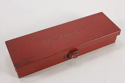"'Bell System D' Marked Small Tool Box Case 8 5/8"" x 2 3/4"" Red Metal Lockable"