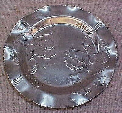 Hand wrought stamped hammered aluminum craft studio round floral tray FREE S/H