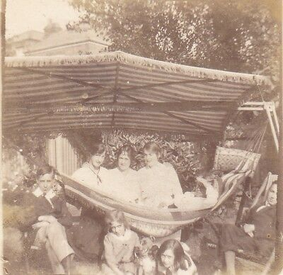 Vintage Old Photo Teenage Boys Girls Terrier Dog Hammock Garden Summer 1915
