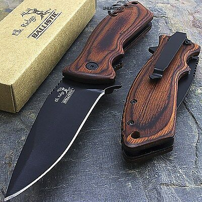 "7.75"" ELK RIDGE WOOD SPRING ASSISTED FOLDING POCKET KNIFE Blade Open Assist"