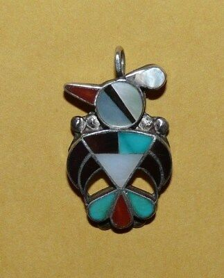 "~Vtg~Native~Zuni~""hopi Bird""~Sterling~Silver~&~Mosaic~Multi~Stone~Inlay~Pendant~"
