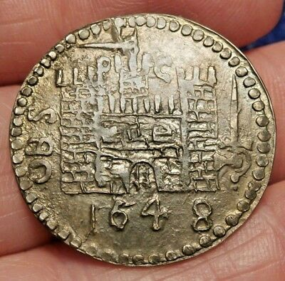 RESTRIKE 1648 SILVER PONTEFRACT SEIGE SHILLING of the GREAT REBELLION C751