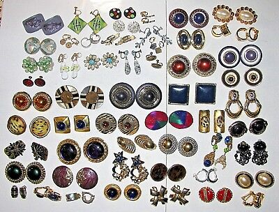 1. 55 Pair Clip On Earring Jewelry Lot Givenchy Weiss Piscitelli +
