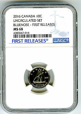 2016 Canada 10 Cent Uncirculated Dime Ngc Ms68 First Releases Top Population !