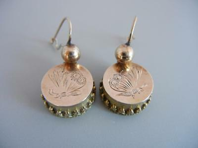 Antique Victorian Wire Earrings Gold Filled Butterfly Drop