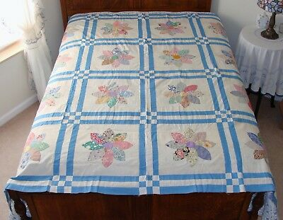 "Vintage Hand Appliqued Flower Cotton Feedsack Quilt Top 76"" x 73"""