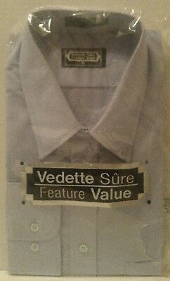 Vintage USSR Made DRESS SHIRT Long Sleeve BLUE Button Down SIZE 16 Men's NEW