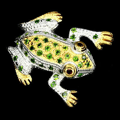 Awesome Round 2.5mm Green Chrome Diopside Garnet 925 Sterling Silver Frog Brooch