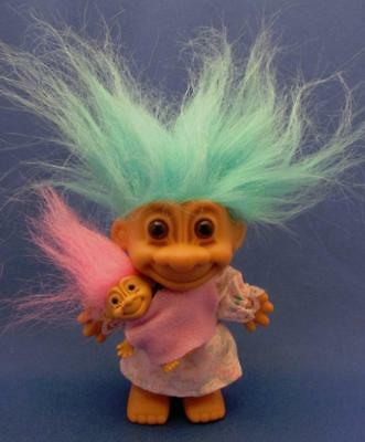 """Mom 4"""" Troll Doll With Teal Hair Carrying Baby With Pink Hair - Russ"""