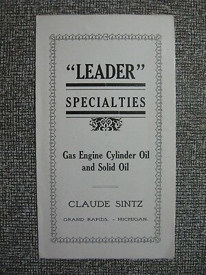 Ad Booklet For Claude Sintz Gas Engine Cylinder Oil & Solid Oil Leader Solid Oil