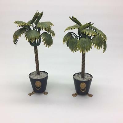 "Pair of Petites Choses 9"" Metal Palm Trees Black Planters Lion Heads Hollywood"
