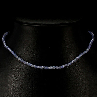 Gorgeous Top Nice Blue Violet Tanzanite Pearl 925 Sterling Silver Bead Necklace