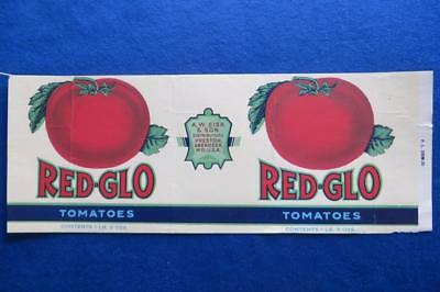 Vintage Can Label Red-Glo Brand Tomatoes A.W. Sisk & Son Preston Aberdeen MD