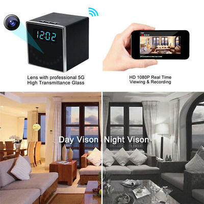 FHD 1080P WiFi Wireless Clock Camera Hidden Alarm Cam Home Security Night Vision