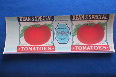 Vintage Can Label Dean's Special Brand Tomatoes Salem Packing Co Maryland