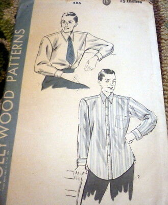 VTG 1940s MENS SHIRT HOLLYWOOD Sewing Pattern CHEST 38 Neck 15