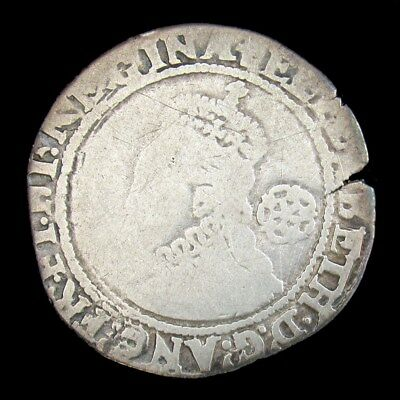 1580 England First Silver Sixpence - VG (Dets) - Queen Elizabeth I Hammer Struck