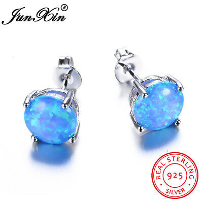Cute 925 Sterling Silver Round Cut Blue Fire Opal Stud Earrings Wedding Jewelry