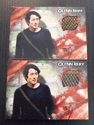 2016 The Walking Dead Survival Box Glenn Rhee Shirt Relic 2 Card Lot
