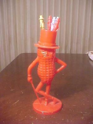 Red Planters Mr. Peanut Stir Holder With 5 Stirs