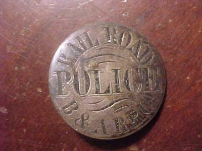 Beautiful Early Sterling Hand Tooled B&A Railroad Co. Police Badge #1
