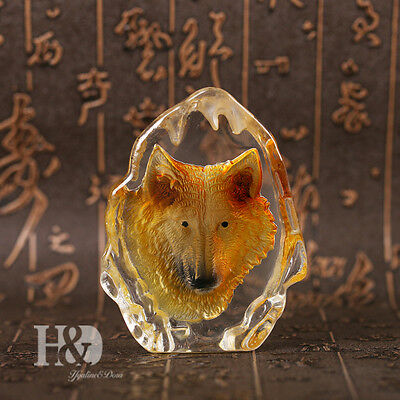 Clear Crystal Wolf Figurine Iceberg Paperweight Ornament Collectibles Decor Gift