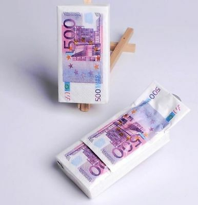 €500 Euro Bill Home Paper Napkins Handkerchief Pocket Paper 21x21cm 1Pack 10Pc