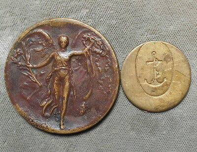 2 Greece: World War I Victory Medal + Naval Anchor In Oval Meal Token?