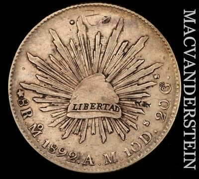 MEXICO (SECOND REPUBLIC): 1892-Mo,AM EIGHT REALES- SCARCE !! EXTRA FINE !!  #W83