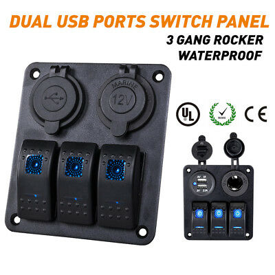 3 Gang Rocker Switch Panel LED Breaker Charger for ATV Marine Waterproof 12V 24V