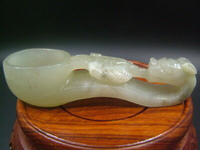 Antique Old Celadon Nephrite Hand carved Hollow Jade Dragon-Brush Washers