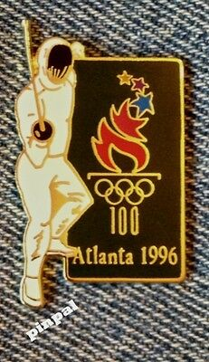 Fencing Olympic Semi Cloisonne Pin~1996 Atlanta with Games Mark Logo
