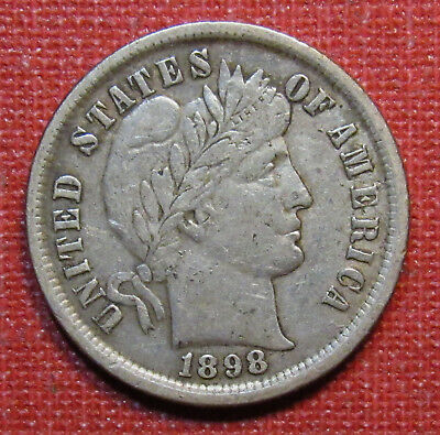 1898 Barber Dime - Full, Sharp Liberty, Very Nice Detail! Please View