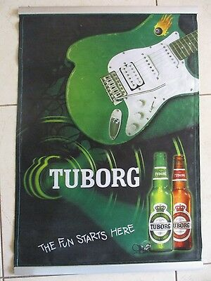"TUBORG  ISRAEL "" THE FUN STARTS HERE : A WALL HANGING  CLOTH  POSTER.  or246"