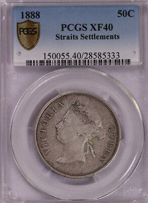 Pcgs-Xf40 1888 Straits Settlement 50Cents Silver Better Date
