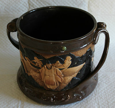 Large Bretby 2 Handled Jardiniere with moulded Japanese figures