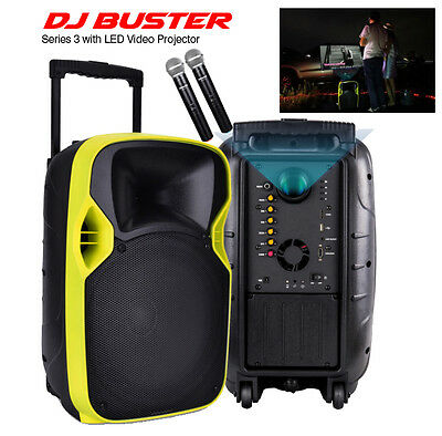 Portable Karaoke Dj Buster Unit With Video Projector & Wireless Mics In Stock