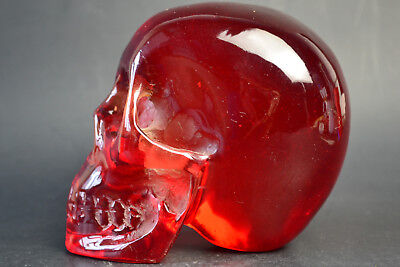 China Collectible Old Amber Resin Skull Figurine Summon Power Statue Decor