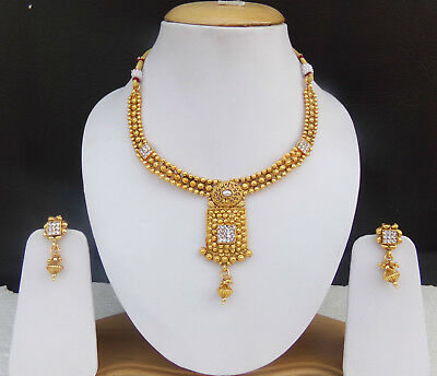 Indian Bridal Jewelry Necklace Earrings Bollywood Gold Plated Polki Ethnic Set