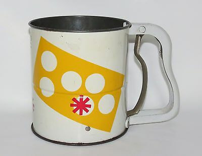 Vintage Androck Hand i Sift 3 Screen Kitchen Sifter White w Yellow Dots & Stars