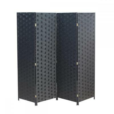 Wood Mesh Woven Design 4 Panel Folding Wooden Screen Room Divider 180