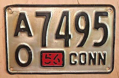 """1956 Connecticut  License Plate """" Ao 7495 """" Ct 56  All Nice Original Condition"""
